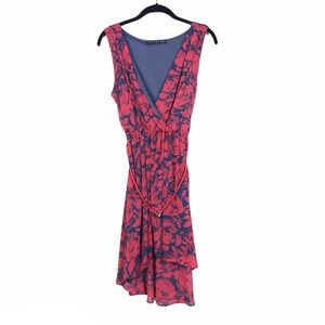 Potters Pot Floral Sleeveless Hi-Low Belted Dress